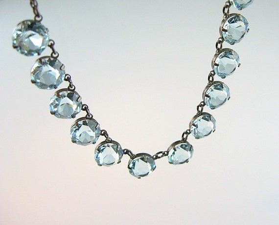 Art Deco Necklace Open Back Pale Blue Crystals Sterling Fine Rope Chain 1940s Jewelry