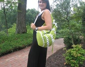 Crocheted Bag Groovy Green and White