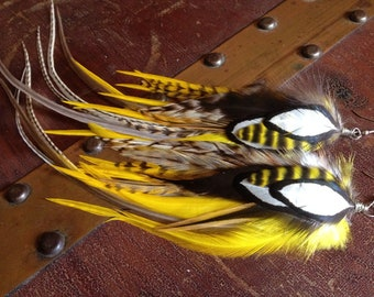 Big Bumble Bee Feather Earrings Long Statement Jewelry Yellow Ginger Grizzly Feather Earings Feather Jewelry