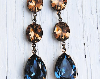 Champagne Taupe Denim Navy Blue Swarovski Crystal Petite Fiesta Dangle Post Earrings Mashugana