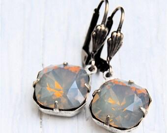 Gray Opal Earrings Swarovski Crystal Earrings Diamond Drop Dangle Rhinestone Earrings Diamond Drop Mashugana