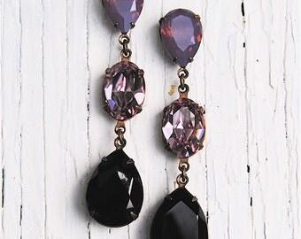Lavender Purple Opal Earrings Vintage Swarovski Crystal Earrings Large Tear Drop Pear Post Dangle Rhinestone Earrings Fiesta Mashugana