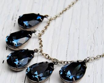 Navy Blue Dangle Necklace Swarovski Crystal Necklace Pear Tear Drop Rhinestone Drop Necklace Duchess Pear Mashugana