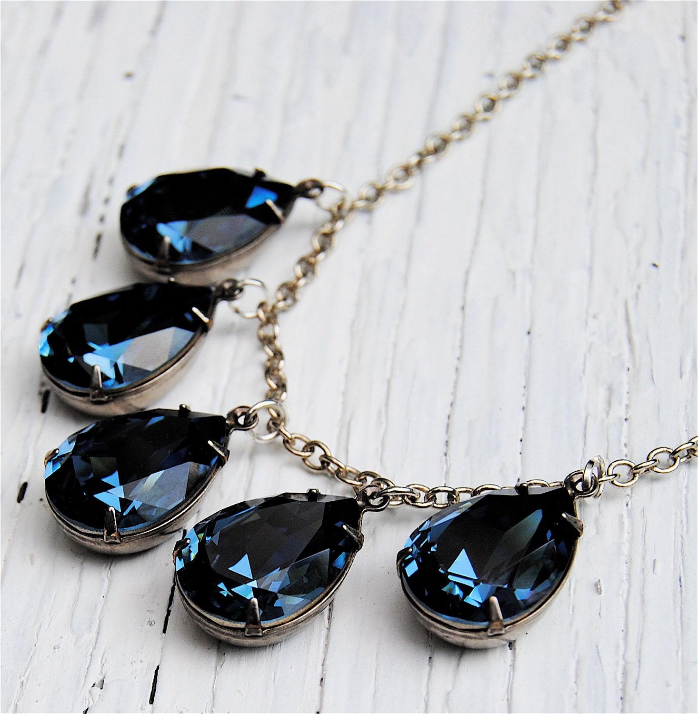 navy blue dangle necklace swarovski necklace pear tear