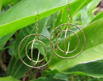Cosmic Hoop Earrings, Gold Hammered Triple Hoops, 3D Galaxy Orbit Earrings, Christmas Gift Idea, Elegant, Handmade Jewelry, Boho Fashion