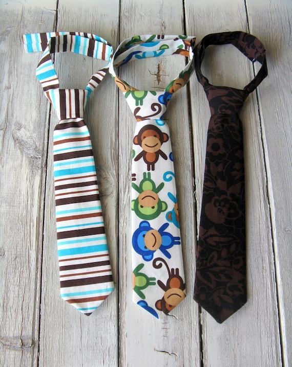 Toddler Tie Set - Boys Ties - Monkey Brown Stripe Toddler/Infant Ties - Boys Photo Prop - Adjustable Boys Ties - Blue Stripe Tie - Monkey