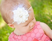 Ivory Flower w/ Veiling, Feathers, & Rhinestone on Ivory Stretch Headband Hairband for Newborn, Baby, Toddler, Adult Bow Christening Baptism