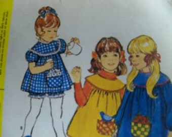 1971 McCalls 3070 Size 6 Girls Dress and Pants with Transfer for Appliques - Sewing Pattern Supply Girls Dress Pattern Girls Pants Pattern