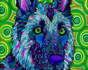 Shepherdelic Print (Trippy Psychedelic German Shepherd Dog Art Drawing in Copic Marker Purples, Violets, Blues and Greens)