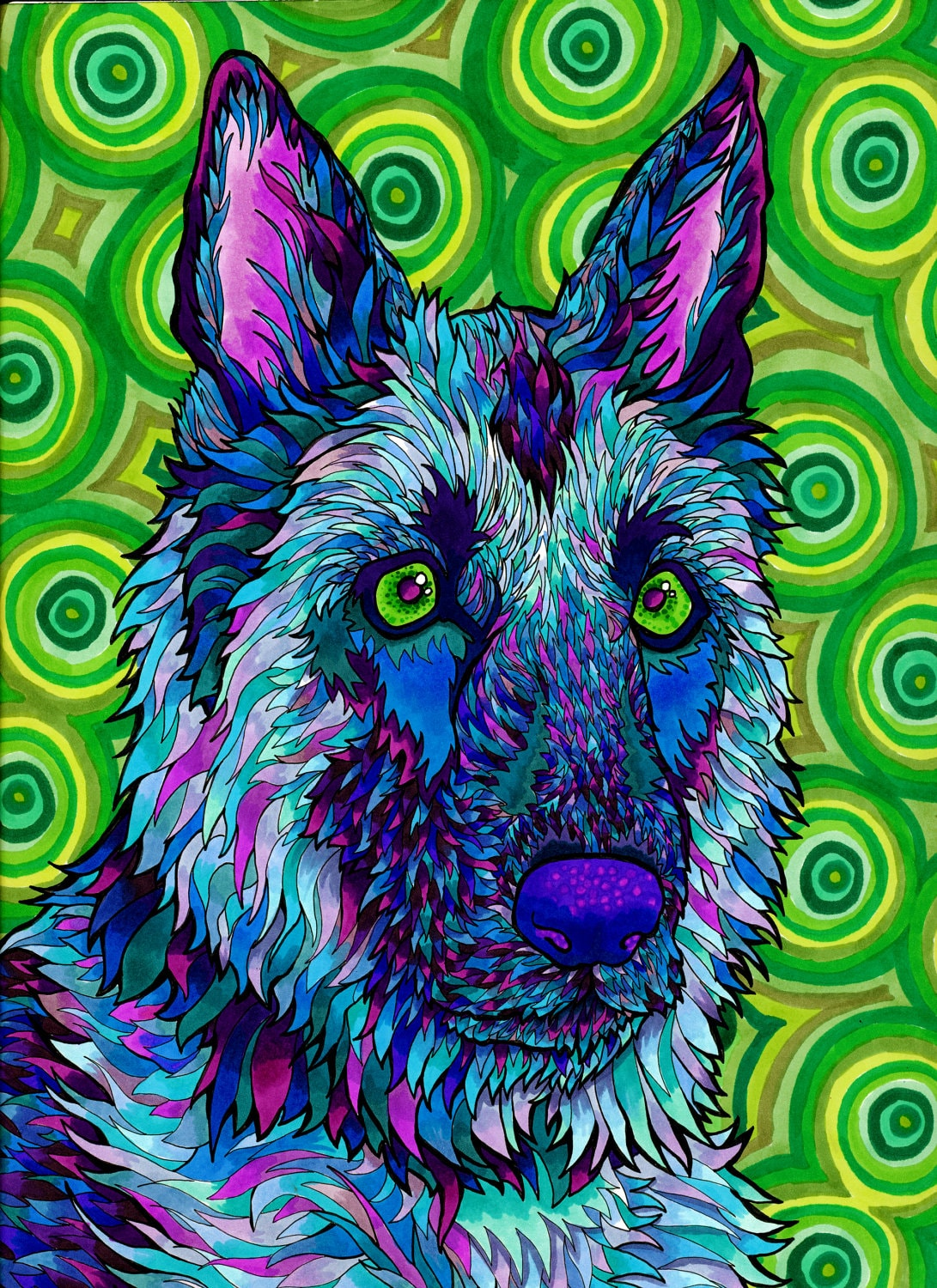 Shepherdelic print trippy psychedelic by paintmyworldrainbow for Cool life paint cost