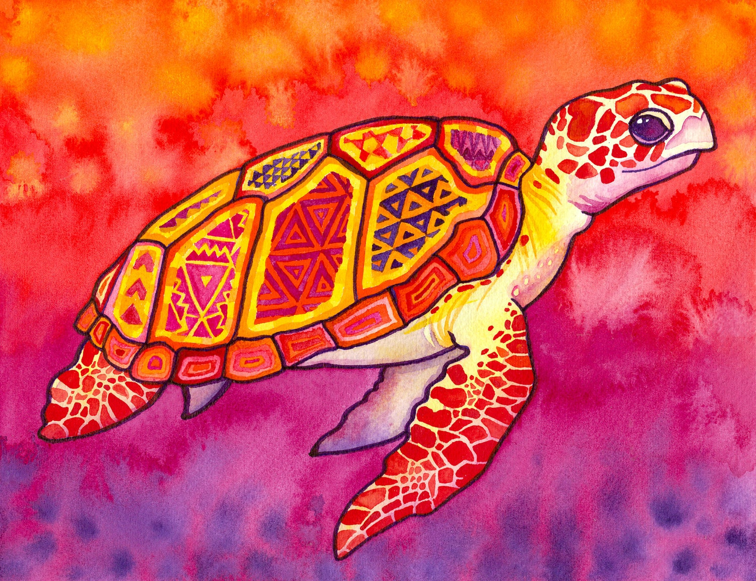 Seaturtle Spirit Print Trippy Colorful Sea Turtle in
