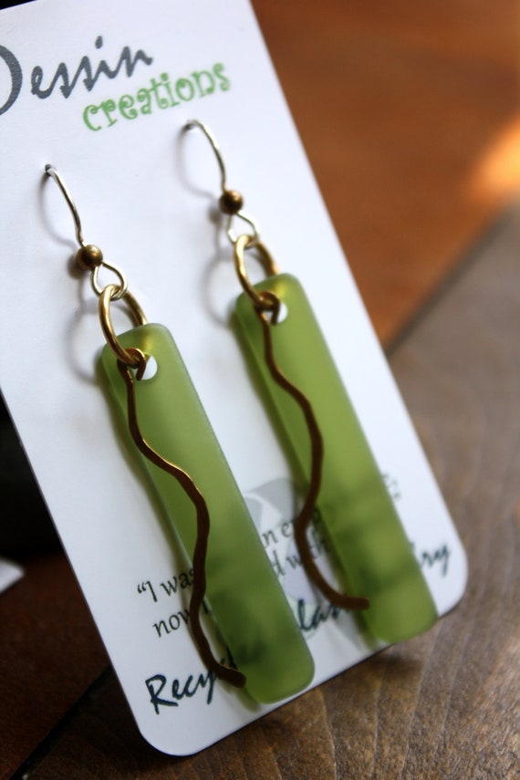 Handcrafted Wine Bottle Earrings with Brass Dangle, Green & Gold Earrings, One of a Kind Jewelry, Dessin Creations