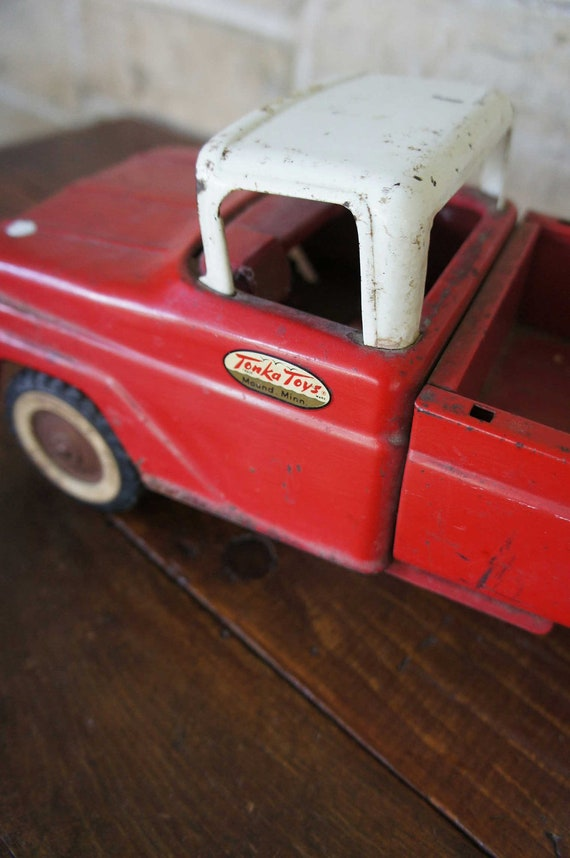 Reserved for Fmakrabawi Vintage Tonka Truck Red Mid Century 1950s Sportsman Pickup Nursery Decor Boys Room