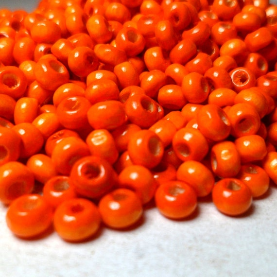 Wood Seed Beads Bright Orange Rounded Beads 300 pcs 4mm halloween beads