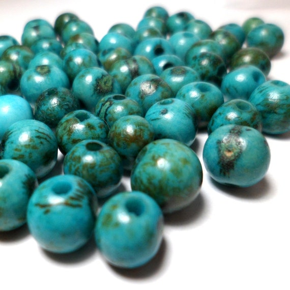 Acai Beads - Natural Seed Beads Mottled Teal Turquoise 30 Pieces