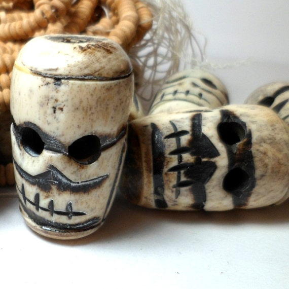 RESERVED FOR PAULO only buy if you are he. Big Carved Skull Beads For Halloween Mala Beads 1 bead