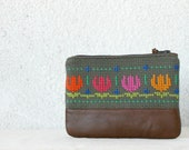 Clutch purse, cosmetic bag vintage embroidery, cactus