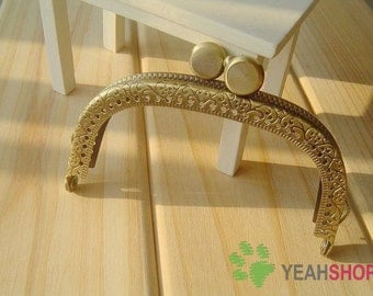 Antique Brass Embossed Purse Frame - Curve Cookie - 9cm / 3.5 inch (PF-13)