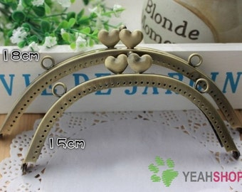 Antique Brass Sew on Purse Frame with Loops - Sweet Heart (PF-19) - Select a Size