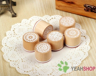 Vintage Lace Round Wooden Rubber Stamp Decoration Stamp - Set of 6