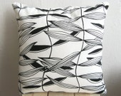 Handprinted Organic Pillow Cover Black and White 16 x 16''