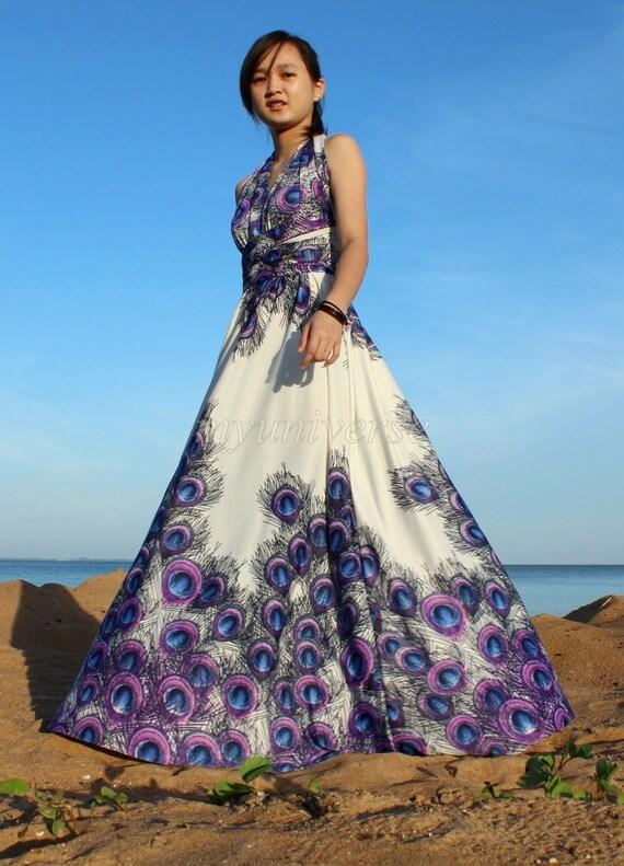 30% SALES Infinity Dress Wrap Convertible Dress Blue Bridesmaid Maxi Peacock Wedding Dress