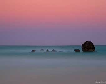 Horseshoe Bay in Bermuda. Beautiful colors at sunset on the beach in a minimalist zen style