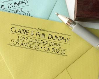Custom return address stamp ART DECO DESIGN with wood handle