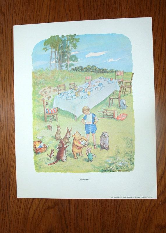 Vintage Winnie The Pooh Art Print Pooh S Party 11 X 14