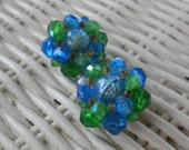 Vintage SALE 1950's Blue and Green Earrings - Cluster Clips - W. Germany