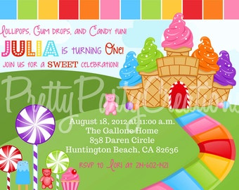 CANDY LAND invitation - with or without photo - U PRINT -with or without photo