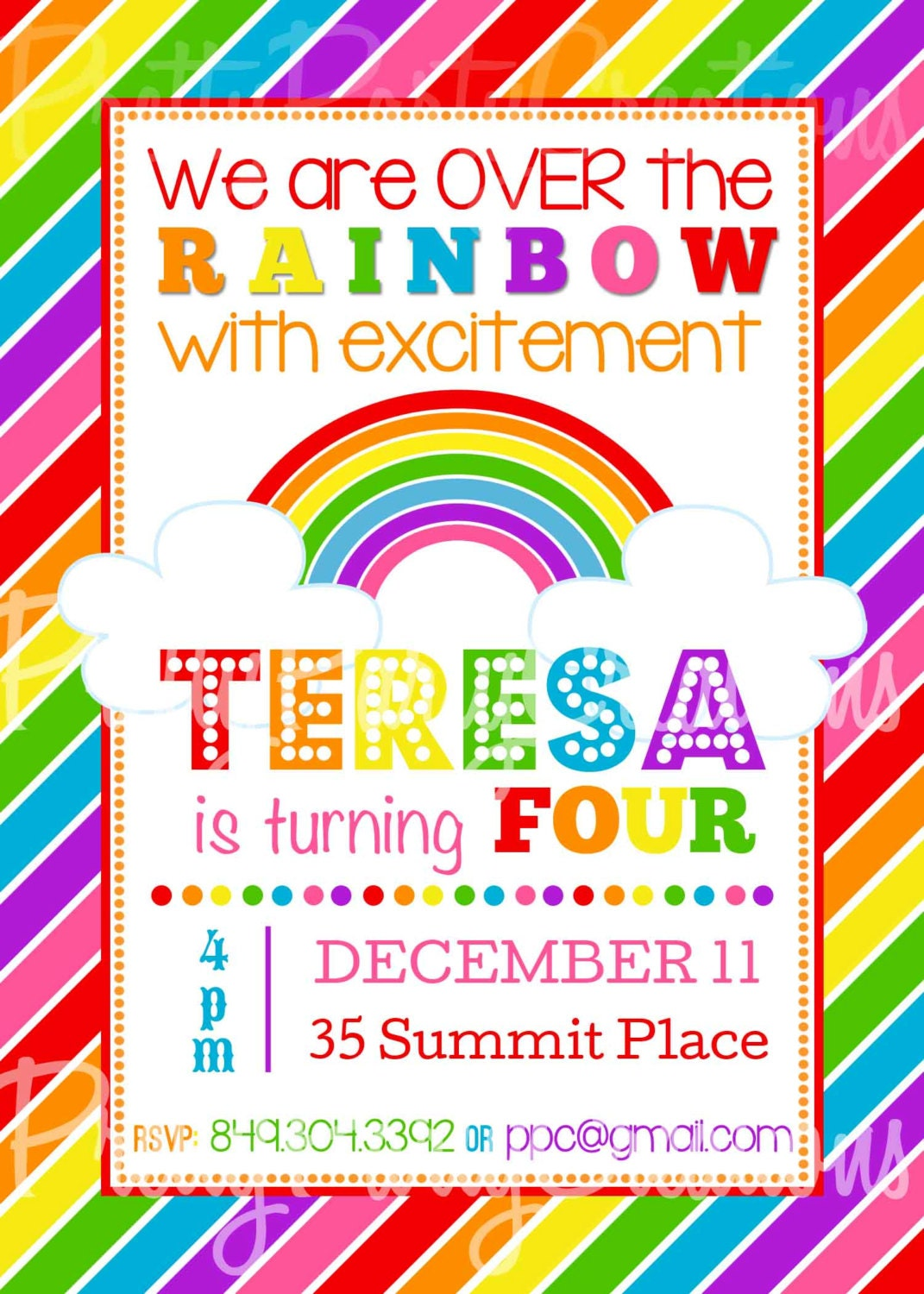 Rainbow Invitation You Print