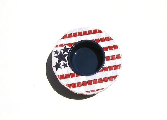 Patriotic Elevated Bowl, single bowl feeder, america decor