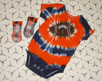 Tie dye 12 month bodysuit and socks- Navy and Orange Football, 400