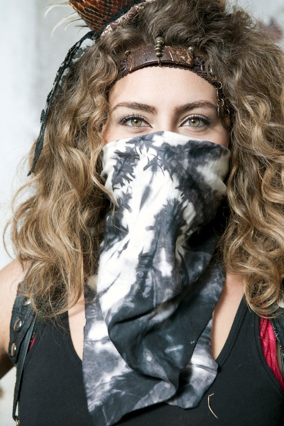 Abstract Black and White Hand Dyed Organic Cotton Bandana FREE SHIPPING