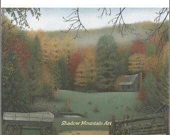 Art Print Landscape with cabin