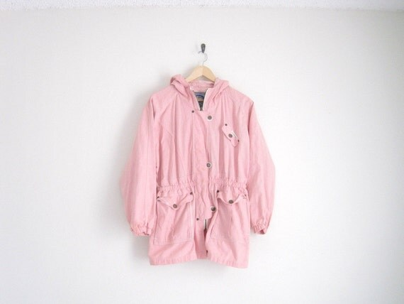 vintage pink chambray hooded parka jacket with cinched waist