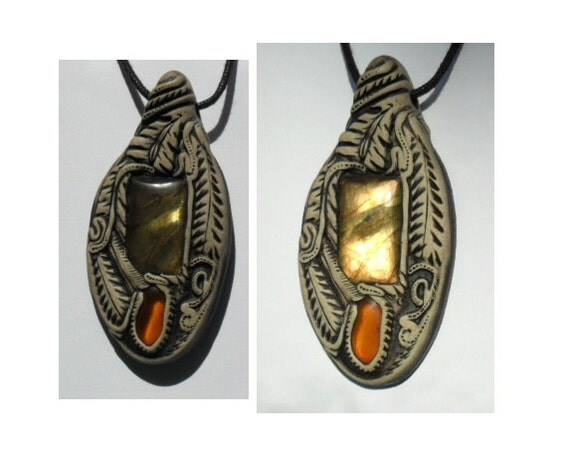 Labradorite Pendant with Amber - WB1 (NW)