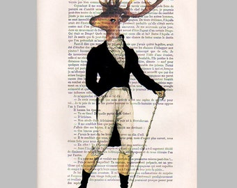 Dandy deer- ORIGINAL ARTWORK Hand Painted Mixed Media on 1920 Parisien Magazine 'La Petit Illustration'