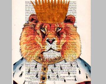 King Lion - ORIGINAL ARTWORK Hand Painted Mixed Media on 1920 Parisien Magazine 'La Petit Illustration' by Coco De Paris x