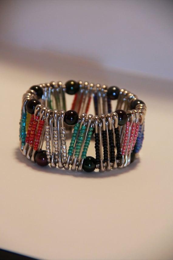 Multi color zig zag pinlet safety pin bracelet for Safety pins for crafts