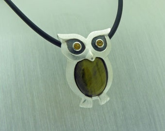 sterling silver owl with tiger eye and citrines