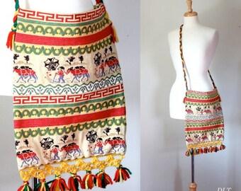 Fringe Tote / Tribal Shoulder Bag / Woven Tote / Ikat Shoulder Bag / Ikat Tote Bag