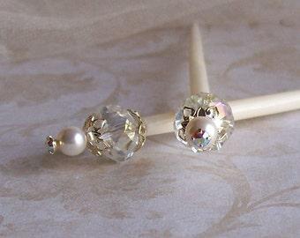 Wedding Hair Sticks - Pearl, Crystal and Rhinestone Wedding Hair Sticks  - Bridal Wedding Hair