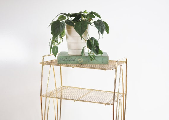 Mid-Century Plant Stand - Gold