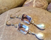 Mallow - faceted pink amethysts and pearl drop dangle earrings