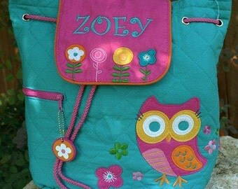 Stephen Joseph Teal Owl Backpack, Personalized for You