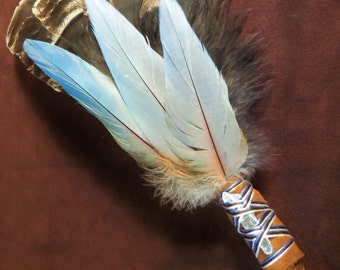Smudge Fan- Shimmering Clouds- Sacred Prayer Fan with Kyanite Crystal