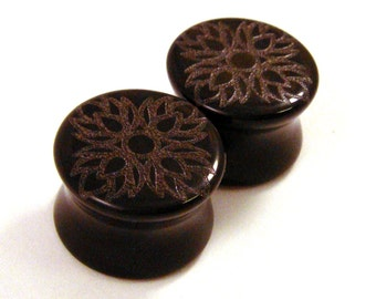 "Lotus Flower of Life Black Glass Plugs - PAIR - 0g (8mm) 00g (10mm) 1/2"" (13mm) 9/16"" (14mm) 3/4"" (19mm) Opaque Ear Gauges"
