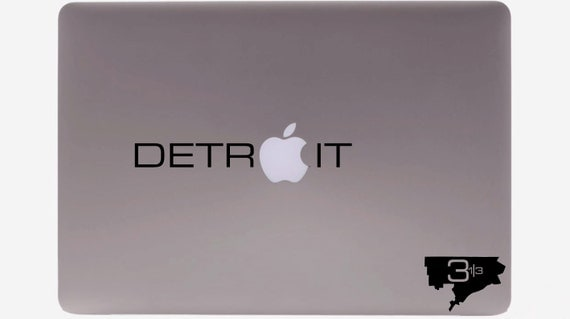 DETROIT text Macbook / Vinyl Decal:  Show off your pride in the 313 to all